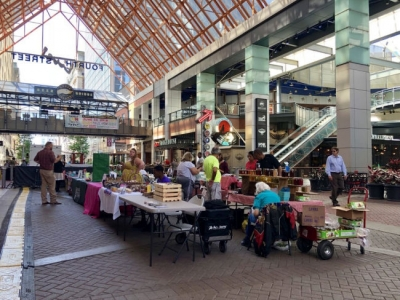 The Fourth Street Live! Farmers Market in Louisville, KY.
